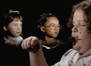 The bespectacled Lavender of MATILDA (1996) probably qualified for enrollment at a much more esteemed institution than Crunchem Hall, where the administration chucked one student over a fence by her pigtails and forced another to eat an enormous chocolate cake in front of the entire student body.  But I'm not sure that anywhere else, Lavender would've been as likely to come into her own politically and make best friends with someone who, by virtue of her telekinesis, could open any door for her.