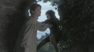 On the series premiere of HBO's Game of Thrones,  Sir Jaime Lannister (Nikolaj Coster-Waldau) ends the climbing career of young Bran Stark by pushing him out of a tower window.